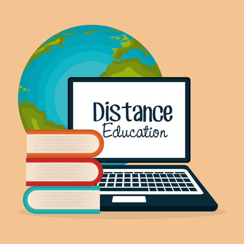 Computer, globe and books distance learning logo