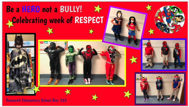 Students posing in superhero costumes