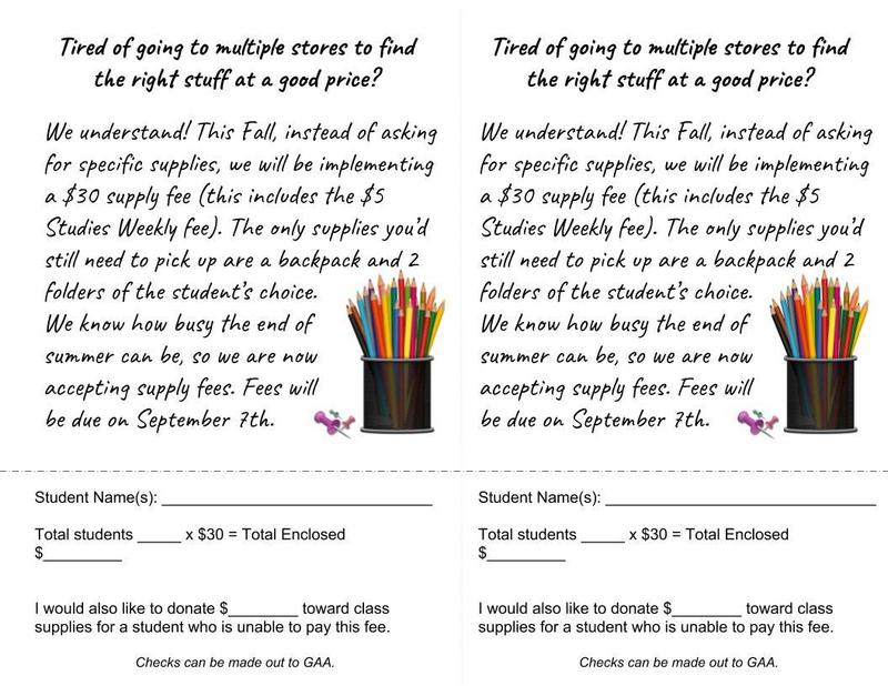 School Supply Fees due September 7th Thumbnail Image