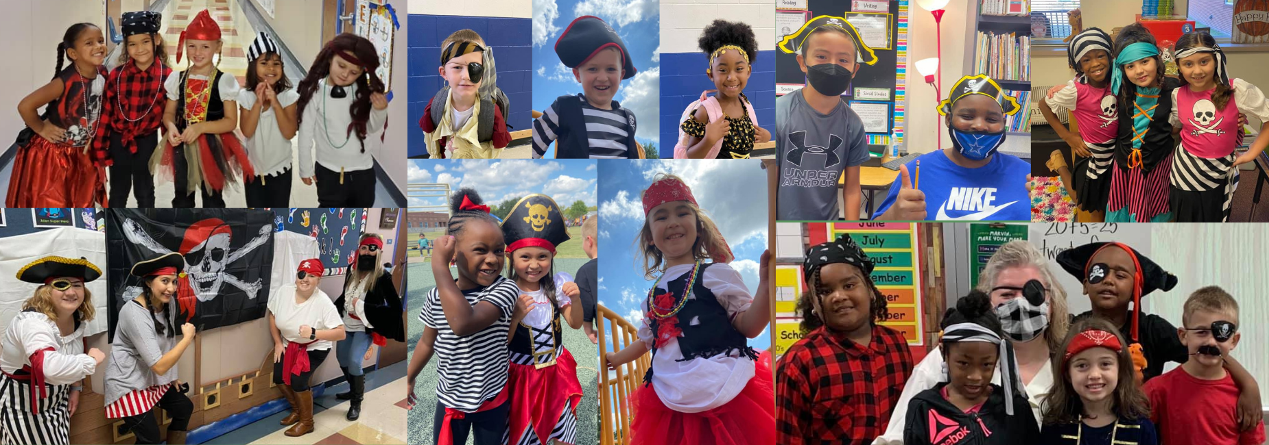 collage of elementary students dressed up as pirates