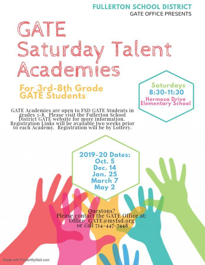 Flyer advertising the dates for 2019-20 GATE Saturday Academies