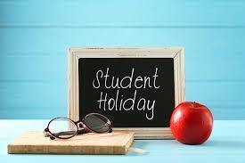 student holiday image on a chalkboard
