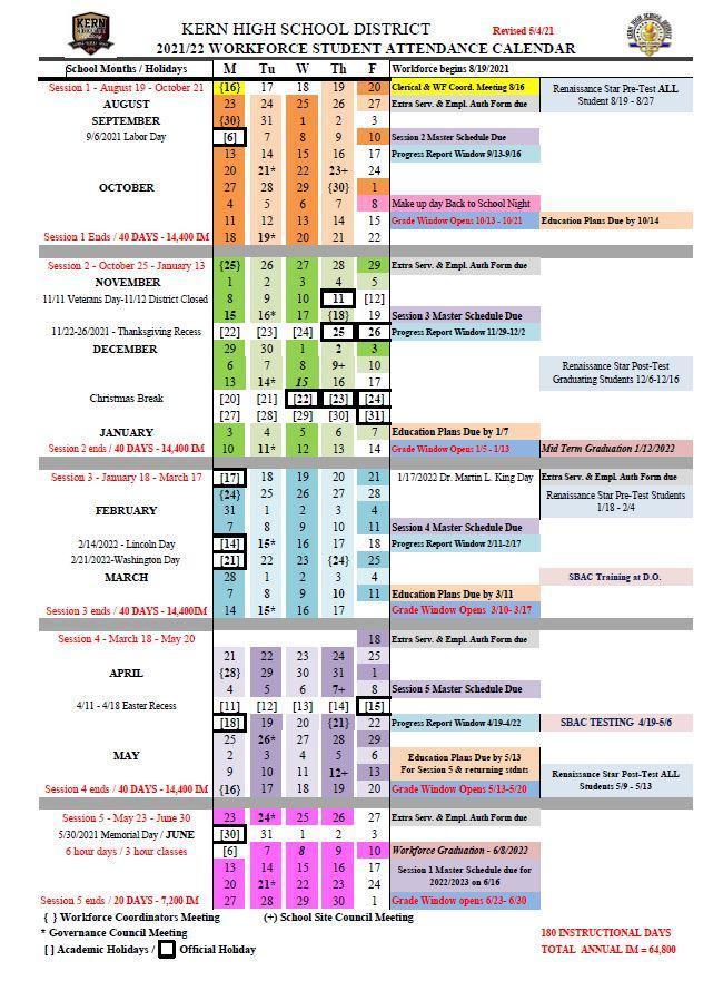 WF Student Attendance Calendar 21.22
