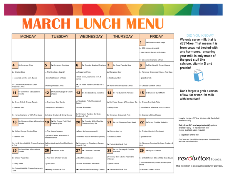 March Breakfast/Lunch Menu Featured Photo