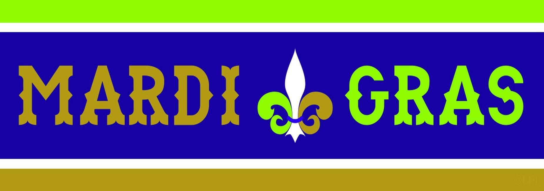 A graphic that says Mardi Gras