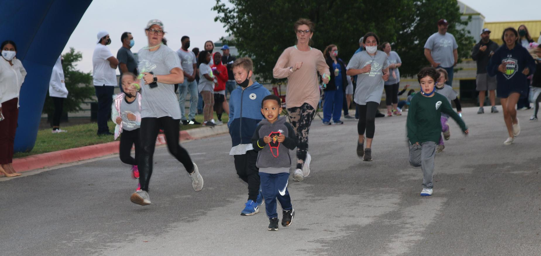 Families running at the school.