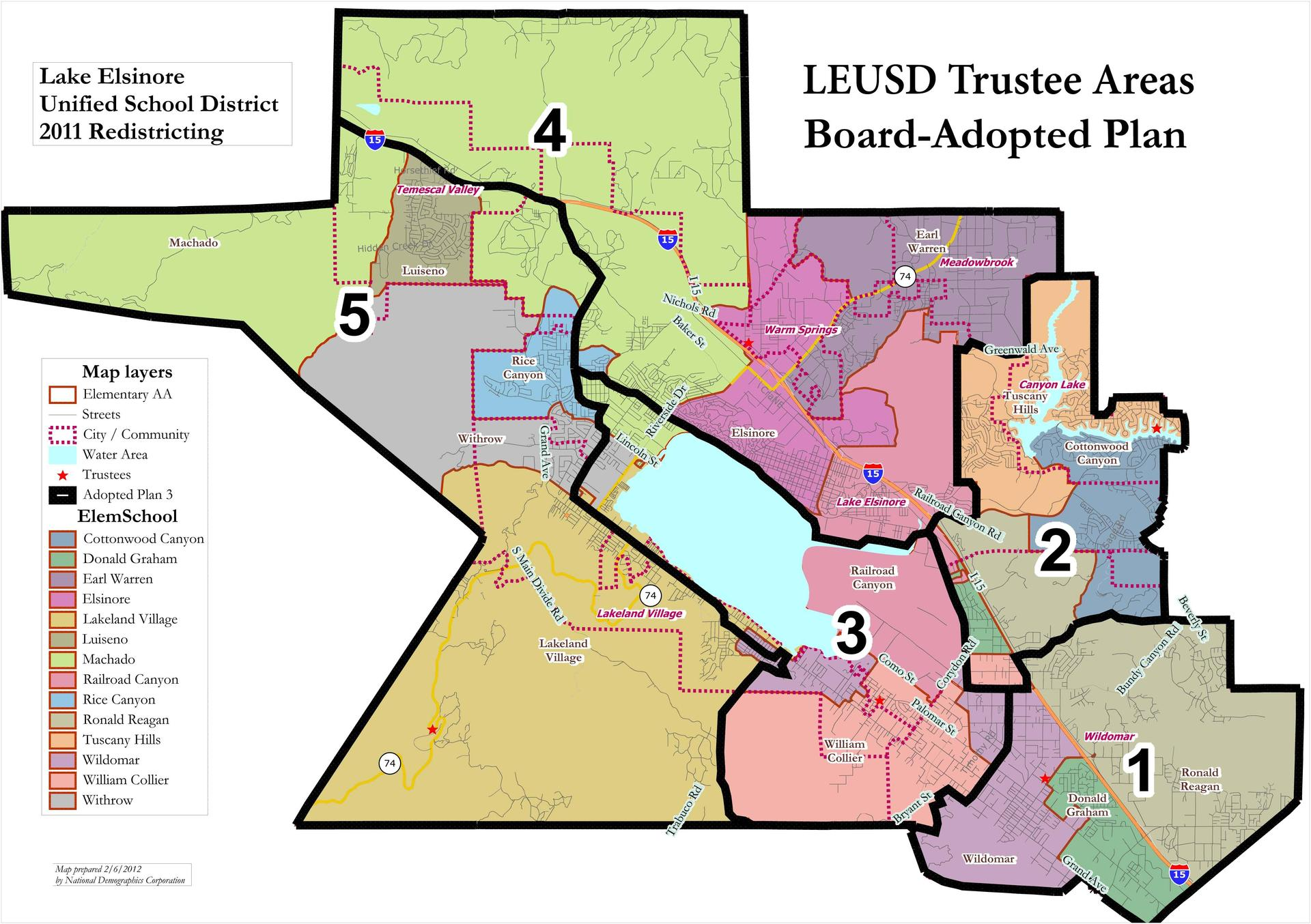 Map of LEUSD Trustee Areas (all, board approved plan 3)