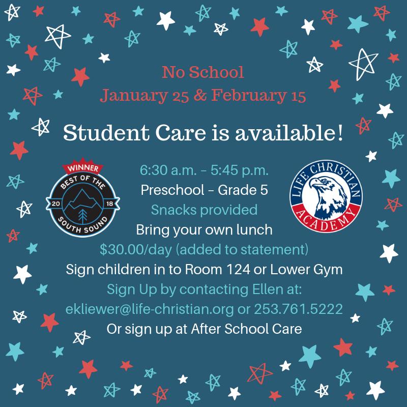 No School January 25 & February 15 Featured Photo