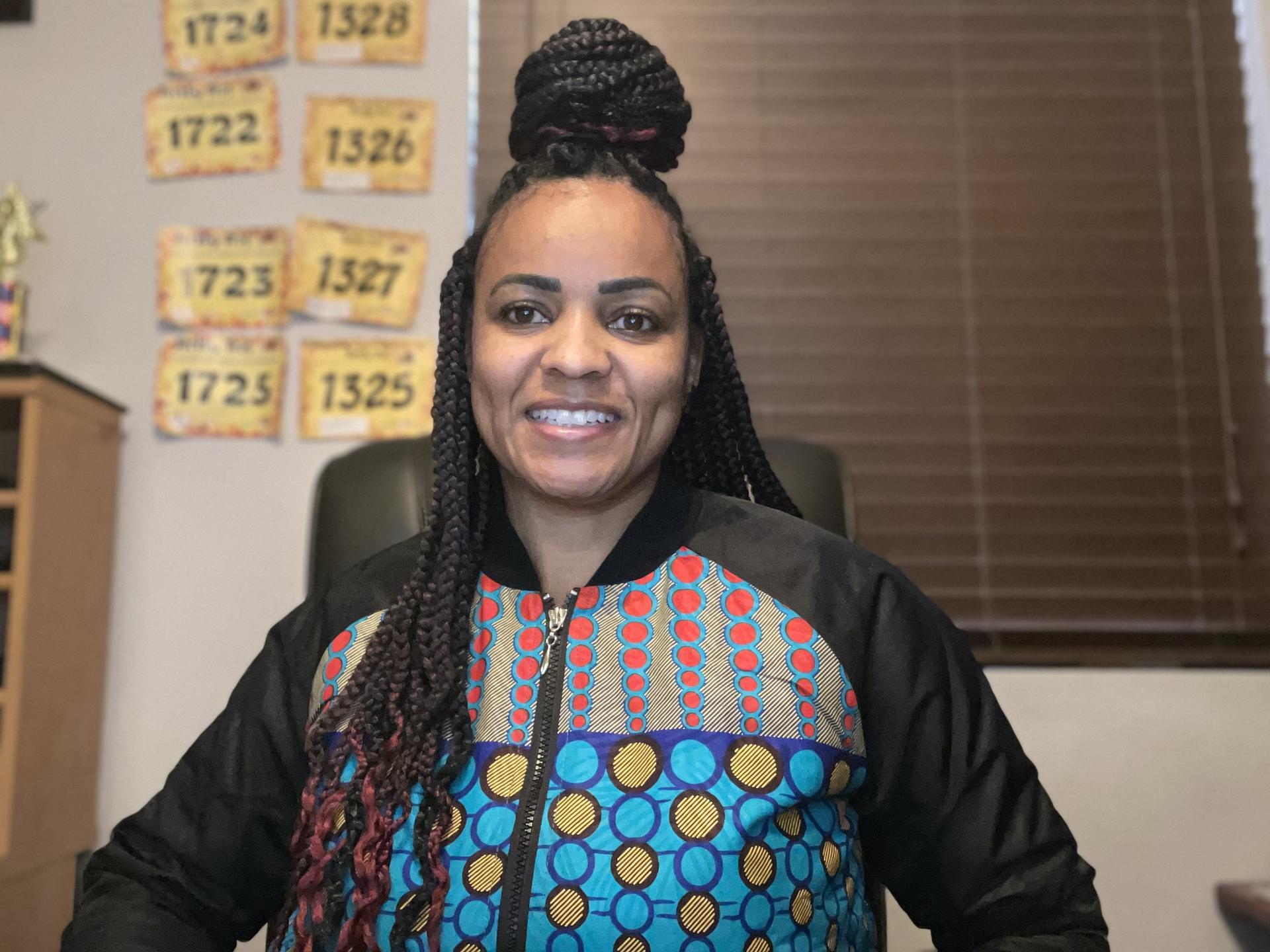 Staff member dressed for Black History Month