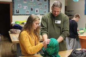 Student Creating a puppet