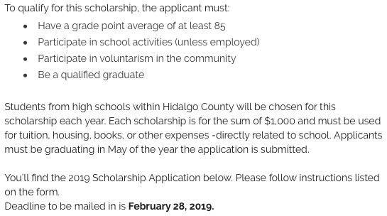 criteria for Junior League of McAllen scholarship