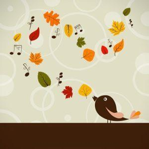 Bird and fall leaves and music notes