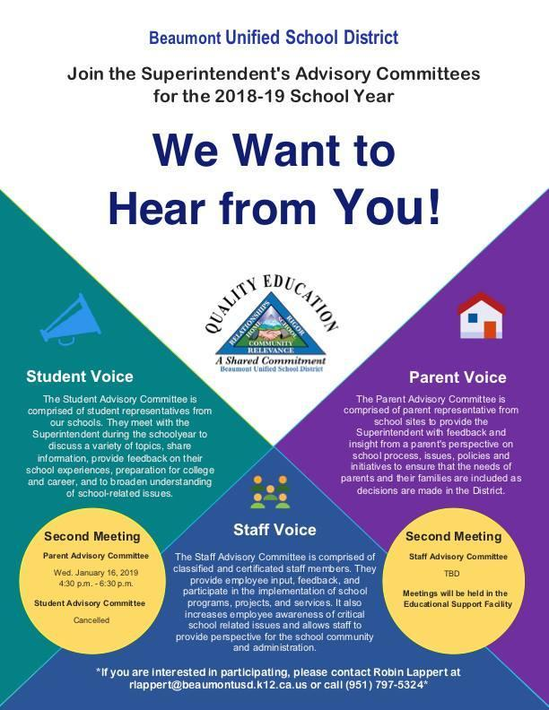 Flyer with information on Superintendent Parent Meeting