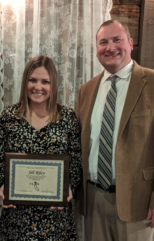 Award Recipient Jill Riley and Principal Bill Lynch