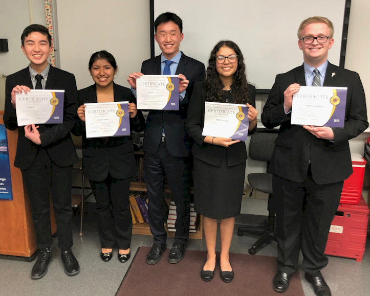 Mater Dei Speech and Debate Finalists: Kevin Do, Natalie Lopez, Eric Hu, Katherine Cruz, and Matthew DeLong