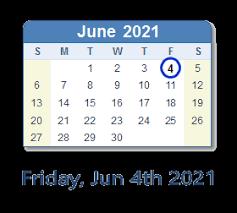 June 4 calendar clip art