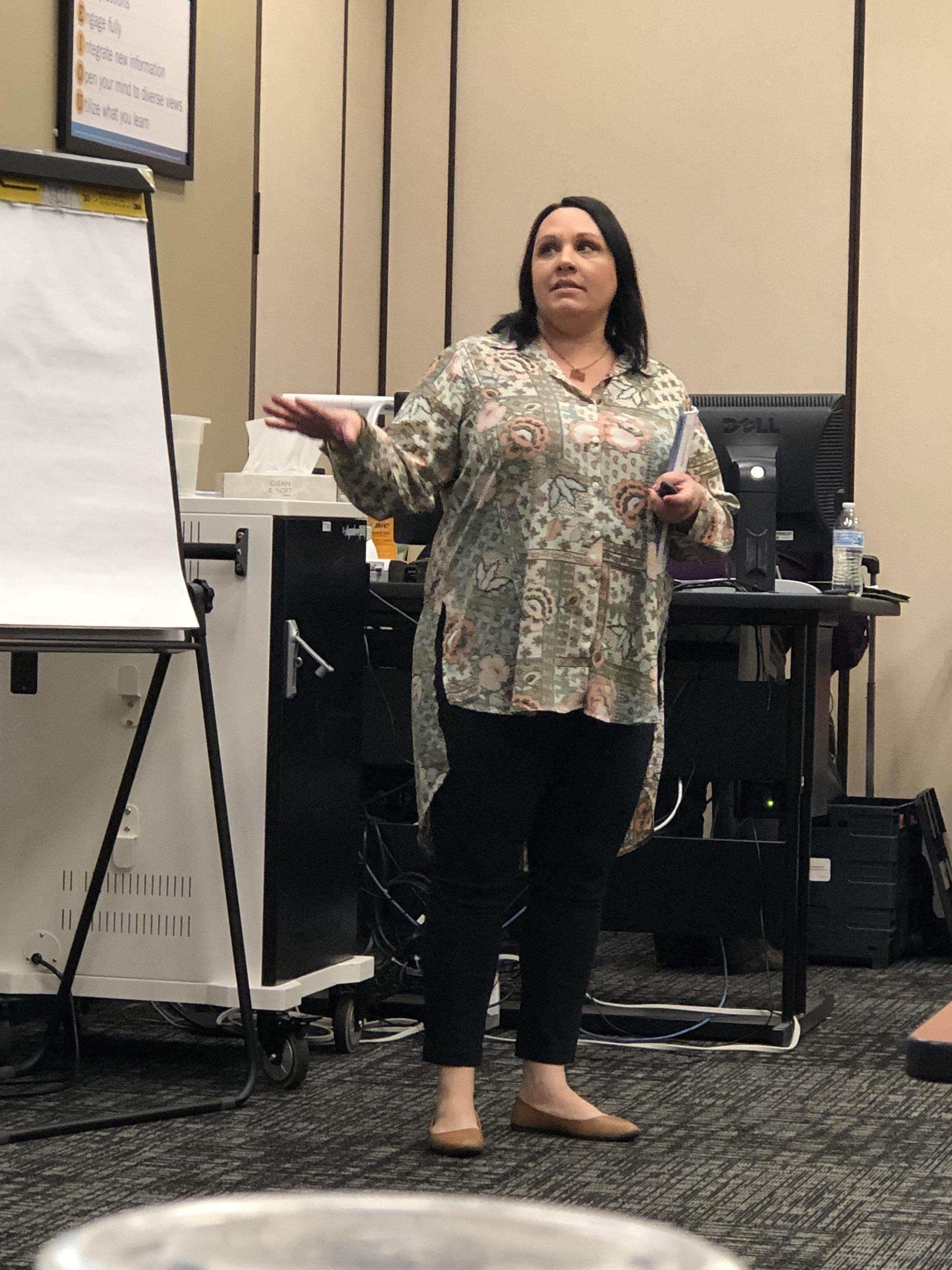 April Jones, LMFT providing a Youth Mental Health Aid First Training