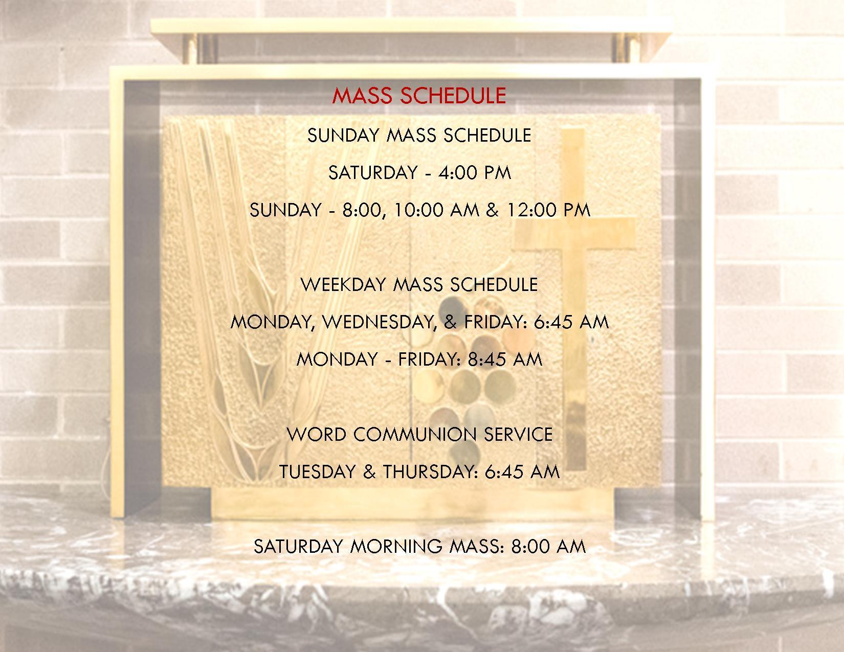 Mass Schedule Image
