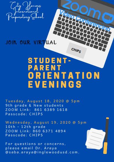 Student-parent orientation evenings