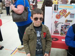 Student dressed for wax museum.