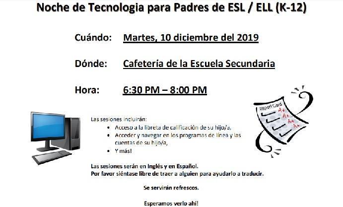 ELL/ESL Tech Night (Spanish) Featured Photo