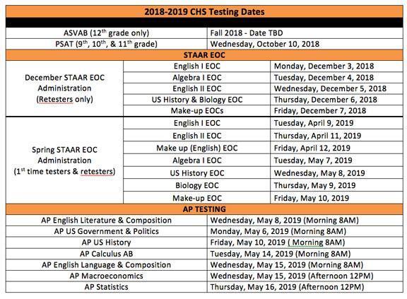 2018-2019 Test Dates