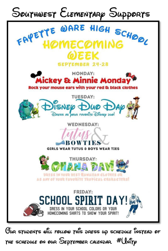 UPDATE:  New Dress-Up Days Schedule for FWHS Homecoming Week Thumbnail Image