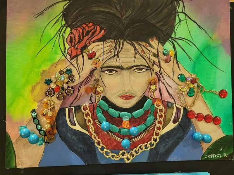Frida Kahlo portrait with 3D jewelry