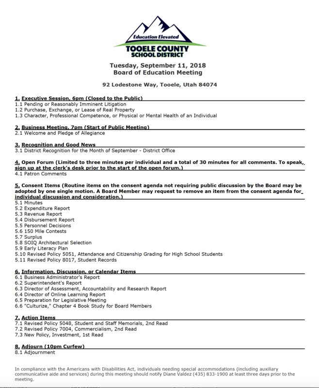 BOE Meeting Agenda for September 11th