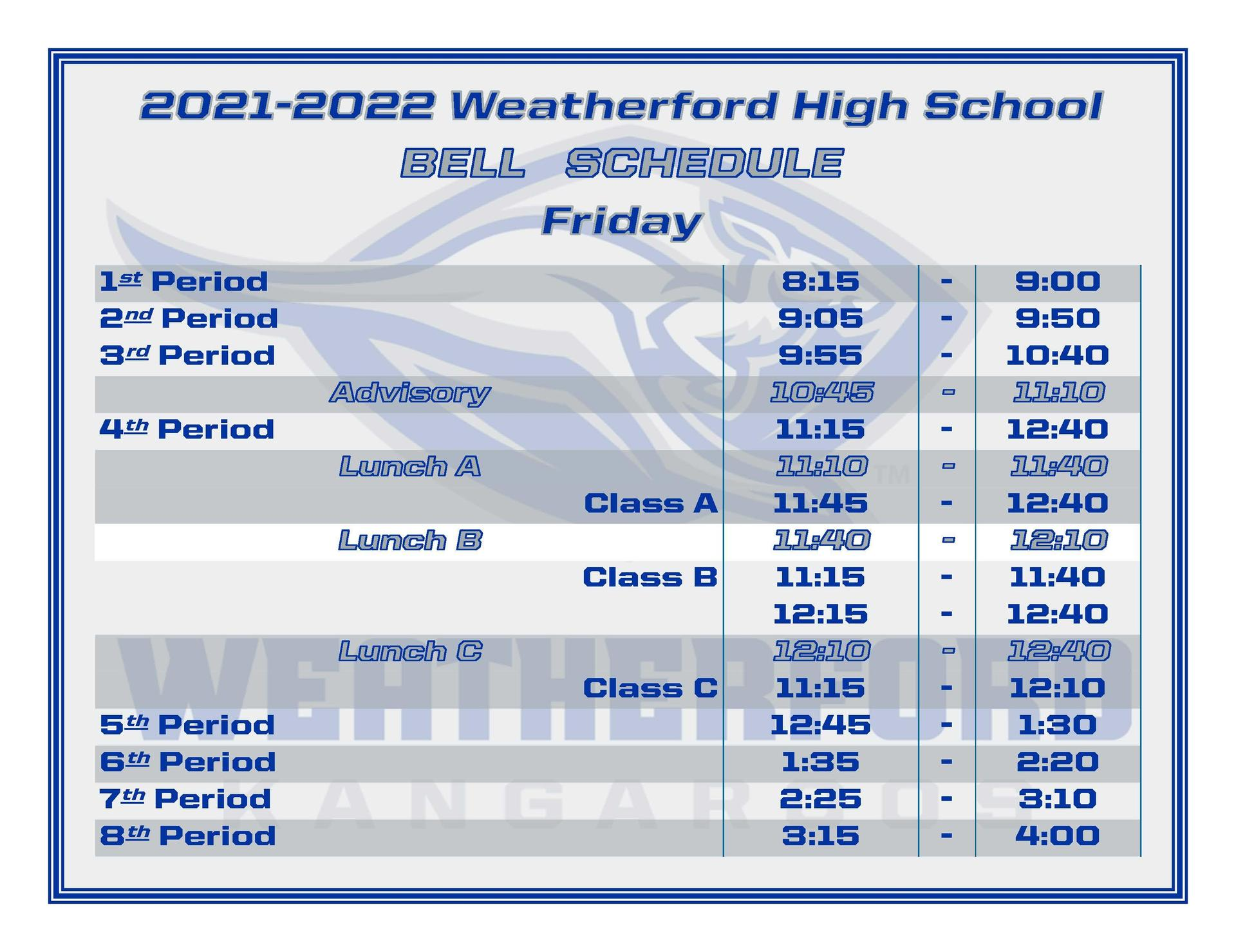 WHS Friday Bell Schedule