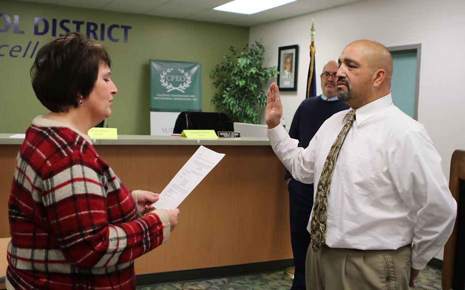 Trustee Manuel Godina sworn into office.