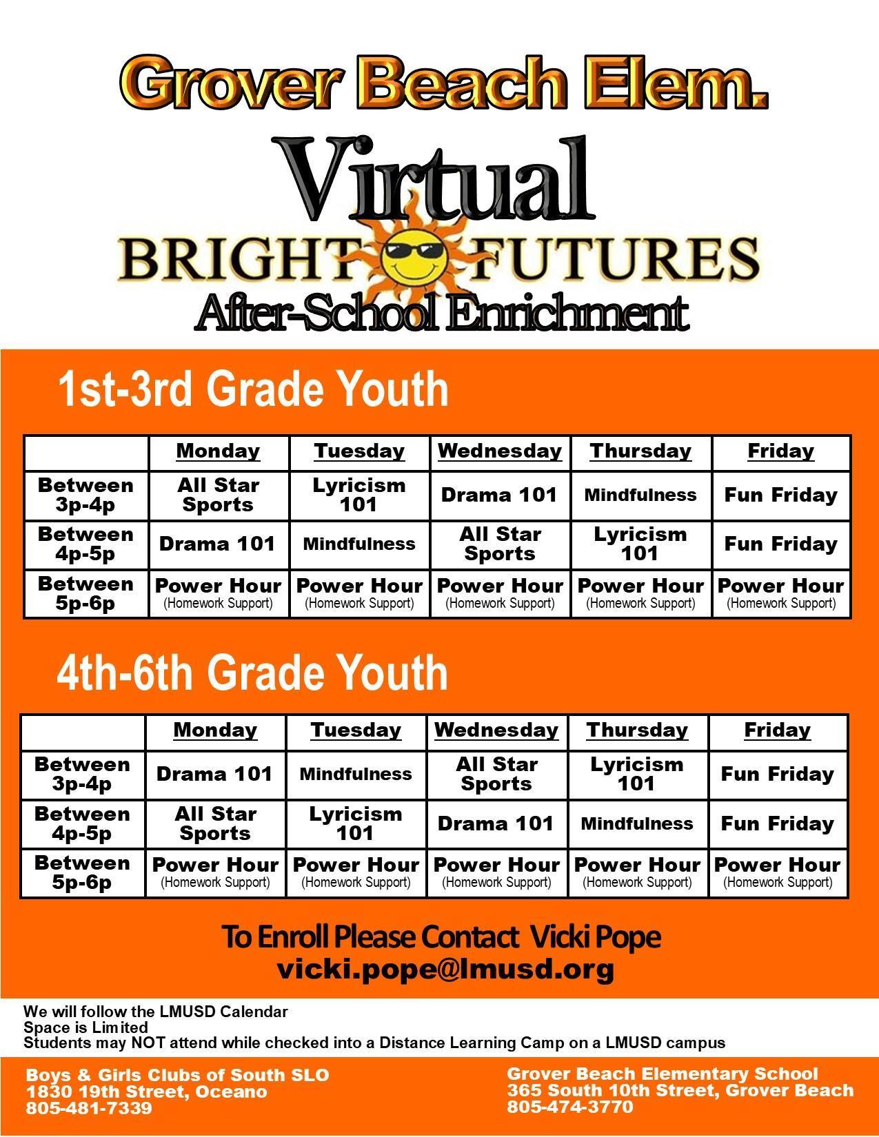 Bright Futures Schedule English