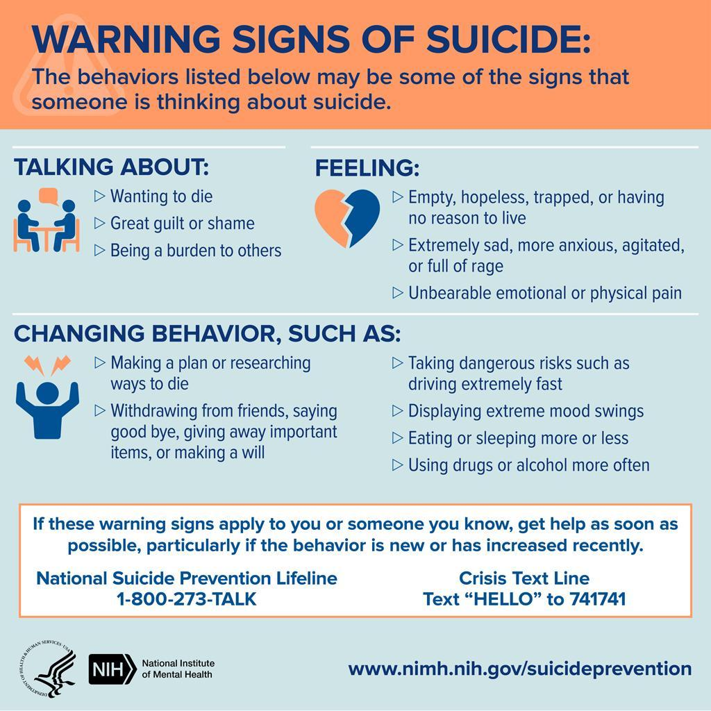 Warning Signs or Suicide