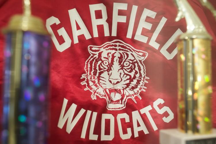 Garfield Wildcats banner behind awards