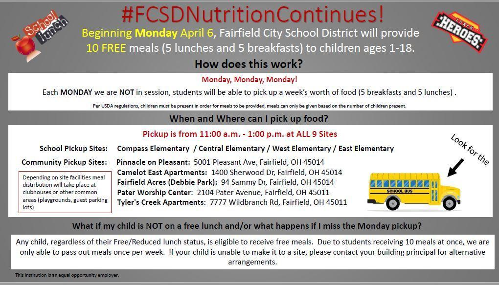 Graphic of the lunch distribution schedule, which is in text below this posting.