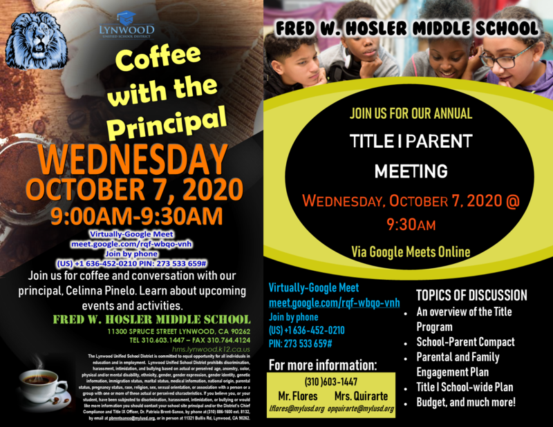 Coffee with the Principal and Title I Parent Meeting Featured Photo