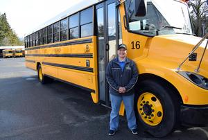 Ukiah Unified School District bus driver, Nina Asbury, with their first 100% electric school bus.