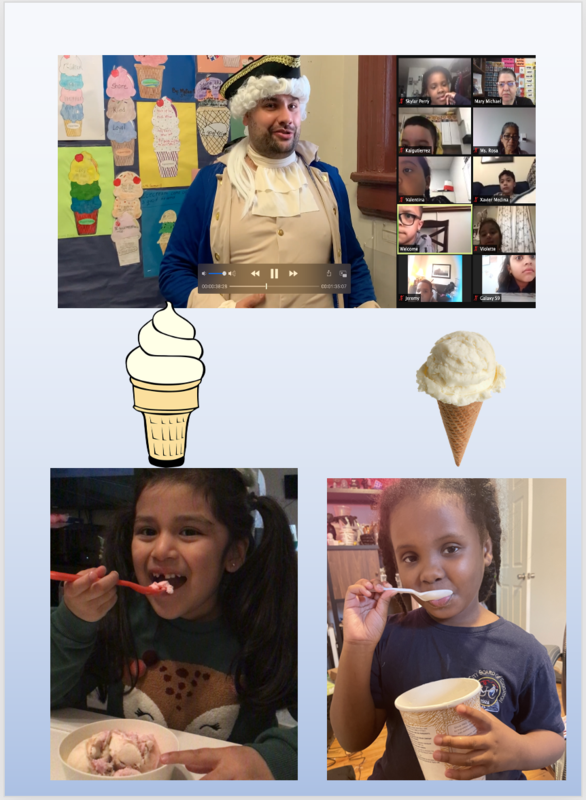 National Thomas Jefferson Day video and students eating ice cream collage