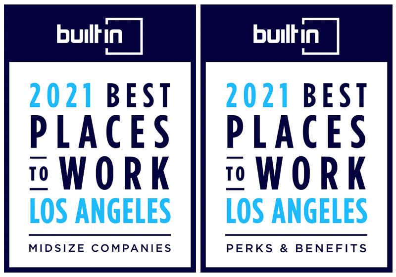 Built In LA 2021 Award badges