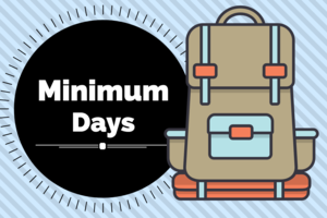 Backpack with minimum days written next to it.
