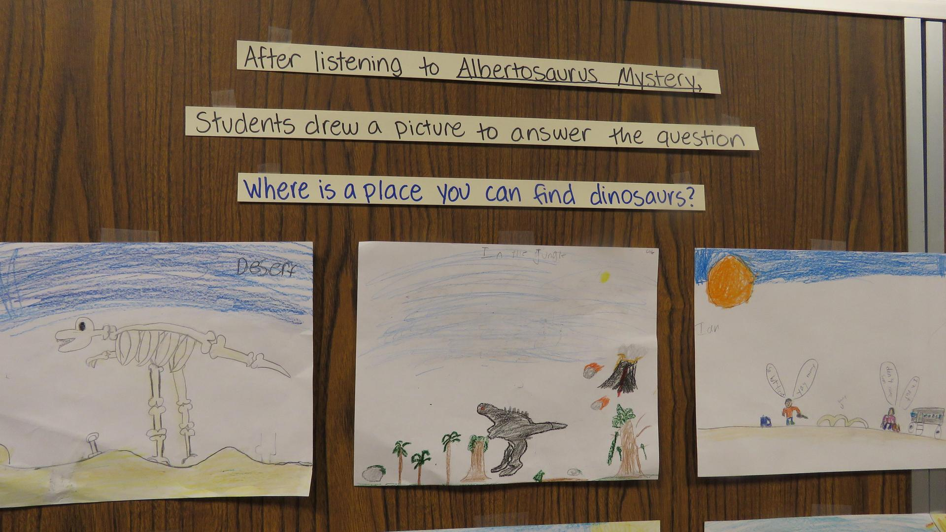 Children draw pictures of dinosaurs in response to the prompt 'Where is a place you can find dinosaurs?'