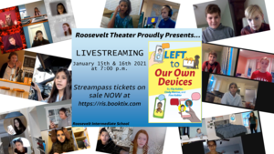 Graphic advertising Roosevelt 8th grade play with photos of students in virtual screen