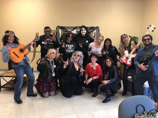 Math teachers dressed up as rock stars.
