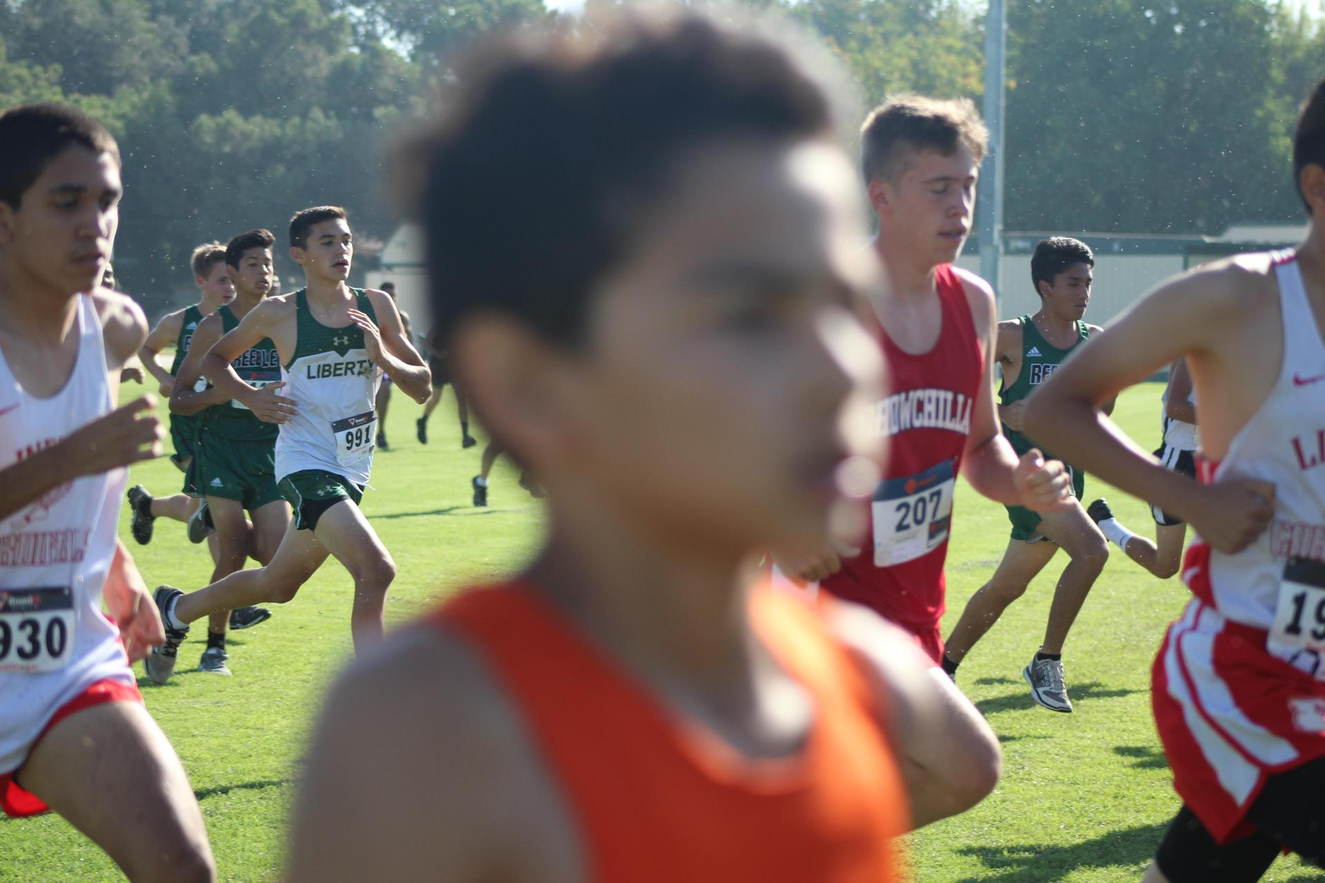 Cross country athletes running at Kingsburg