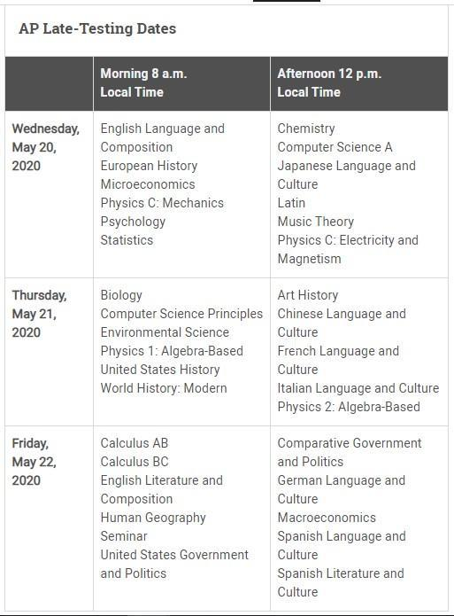Csula Final Exam Schedule Fall 2020.2020 Ap Exam Schedule Advanced Placement Ap Walnut