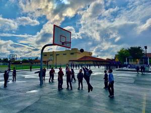 Basketball with Beautiful Sky