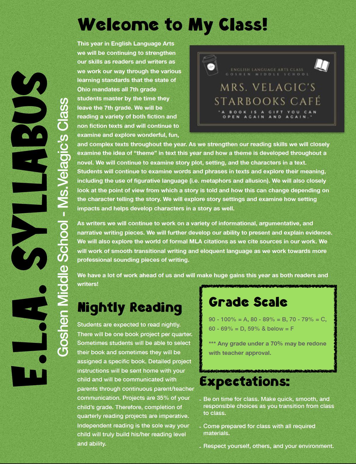 ELA Syllabus Page 1