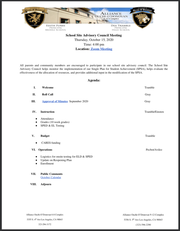 School Site Advisory Council Meeting - October 15, 2020 Thumbnail Image