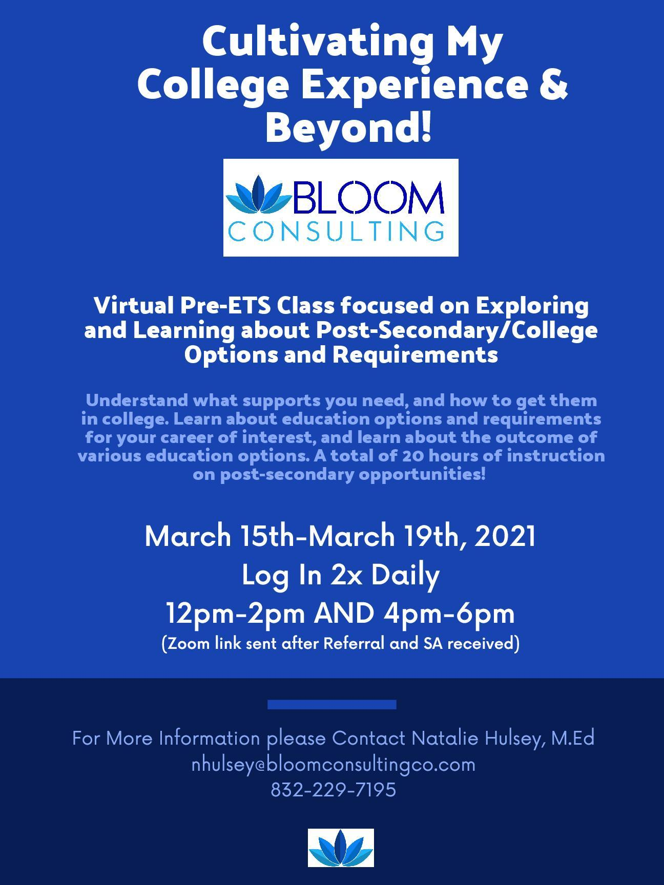 Bloom Consulting 2021 Spring Break Camps
