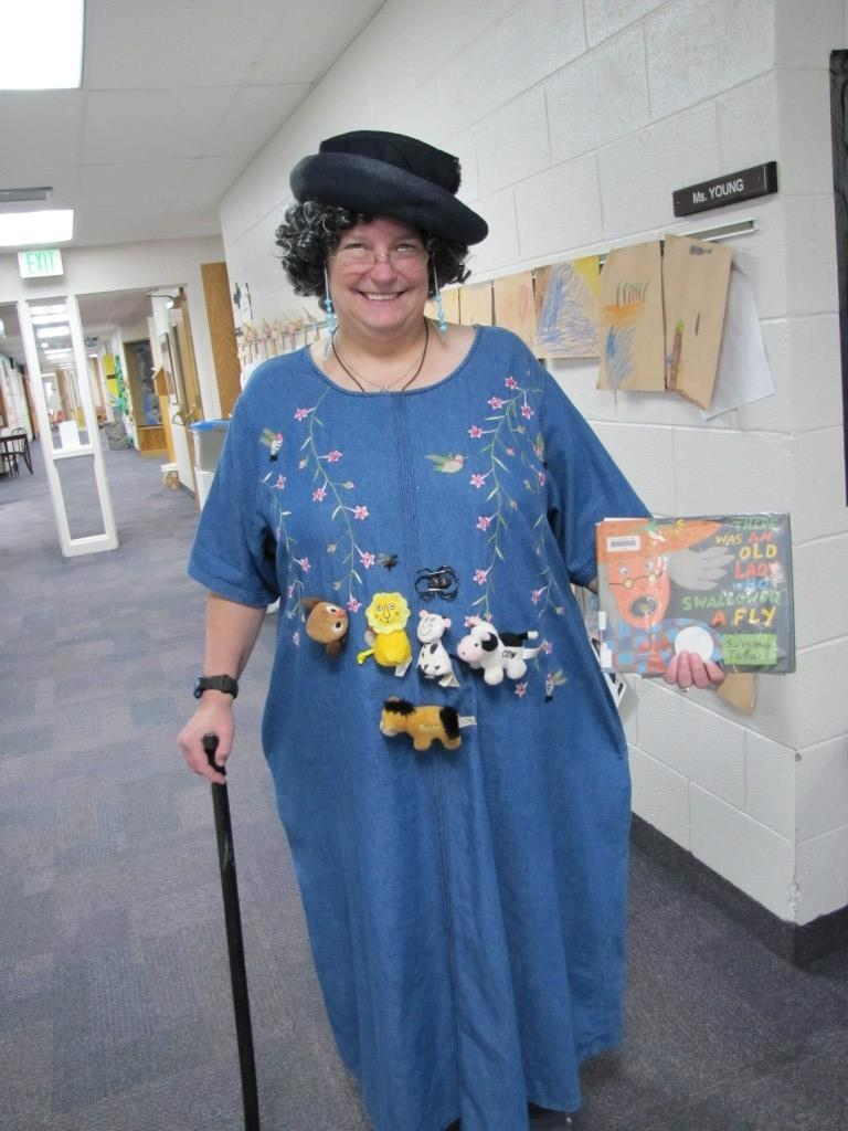 Mrs. Topash joins in Character Day fun.